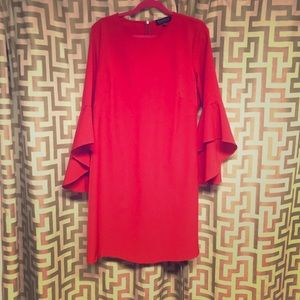 Red long sleeve Eloquii red dress.